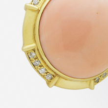 Load image into Gallery viewer, Large 18kt Gold, Diamond, and Angel-skin Coral Enhancer Pendant by Gumps
