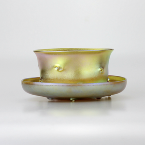 Tiffany Studios Favrile Bowl and Saucer - The Antique Guild