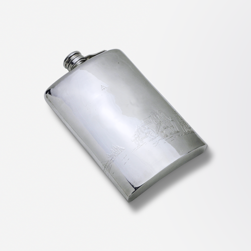 Large, Silver Plated Spirit Flask