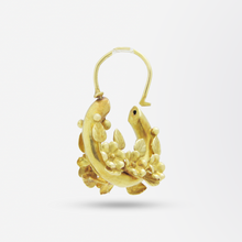 Load image into Gallery viewer, 22kt Gold Floral Hoop Earrings