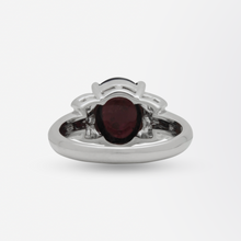 Load image into Gallery viewer, Cabochon Garnet and Diamond Set Platinum Ring