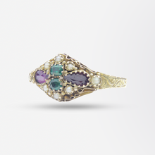 Load image into Gallery viewer, 15kt Gold, Garnet, Green Paste and Seed Pearl Ring