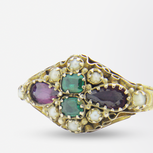 15kt Gold, Garnet, Green Paste and Seed Pearl Ring