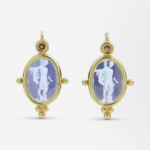 Neo-Classical Tourmaline and Glass Intaglio Suite in 14kt Gold