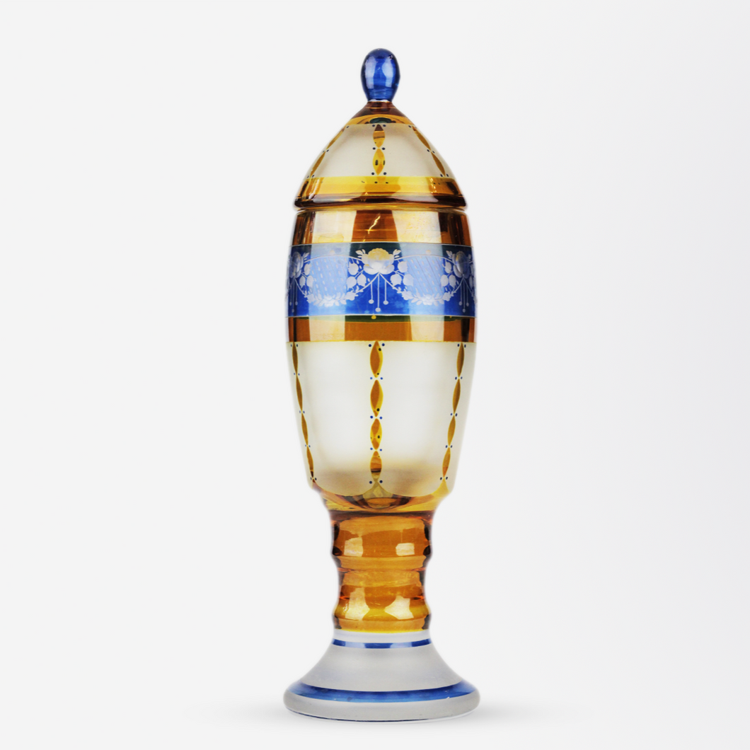 Bohemian Lidded Glass Cup