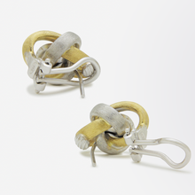 Load image into Gallery viewer, 18kt Two Tone, Florentine Finish, Infinity Style Earrings