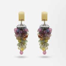 Load image into Gallery viewer, 18kt Rose Gold and Sapphire Briolette Drop Earrings