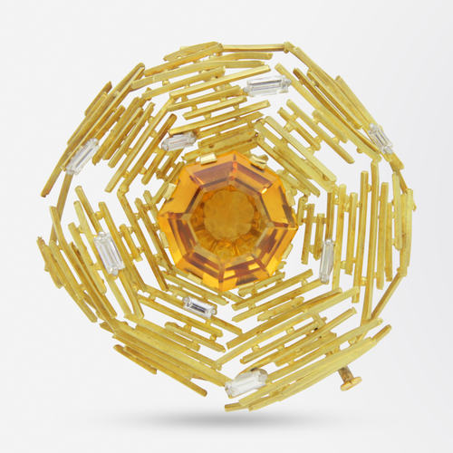 Andrew Grima 18kt Gold, Citrine and Diamond Brooch