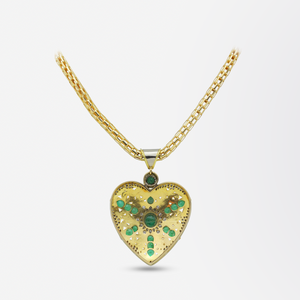 18kt Yellow and White Gold, Diamond, and Emerald Heart Necklace