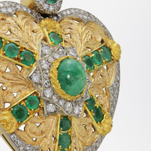 Load image into Gallery viewer, 18kt Yellow and White Gold, Diamond, and Emerald Heart Necklace