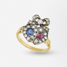 Load image into Gallery viewer, Lovers Heart Ring with Diamonds, Rubies & Sapphires