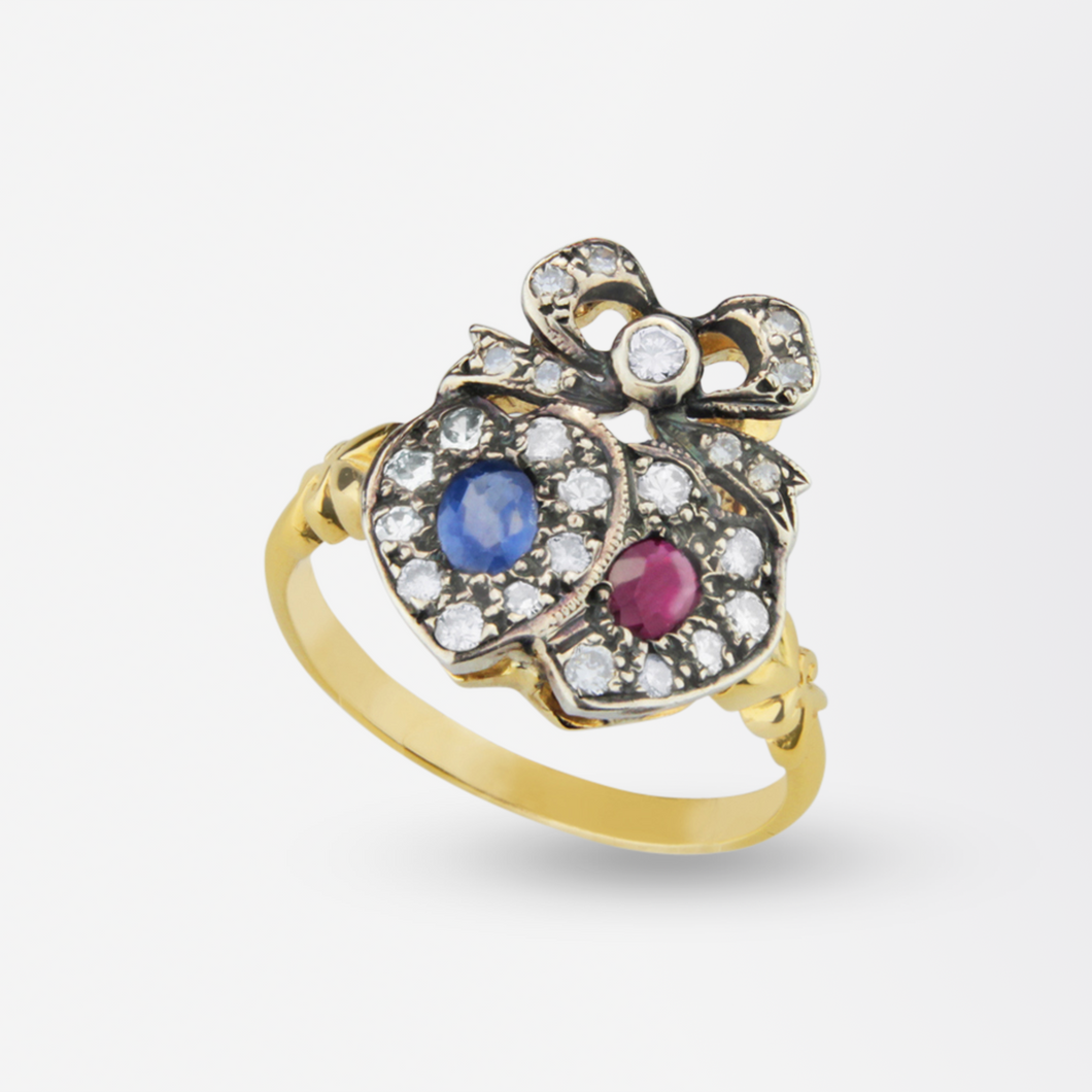 Lovers Heart Ring with Diamonds, Rubies & Sapphires