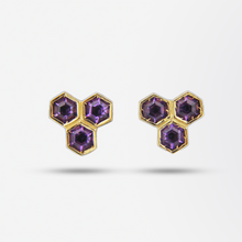 Load image into Gallery viewer, Gold and Amethyst Honeycomb Earrings