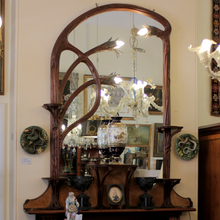 Load image into Gallery viewer, Art Nouveau Mahogany Illuminated Mirror - The Antique Guild