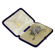Load image into Gallery viewer, 14k Yellow Gold, Silver and Diamond Star Burst Brooch Circa 1900 - The Antique Guild