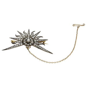 14k Yellow Gold, Silver and Diamond Star Burst Brooch Circa 1900 - The Antique Guild