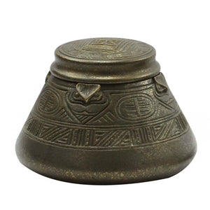 Tiffany Studios Bronze Inkwell and Pen Tray in The American Indian Pattern - The Antique Guild