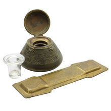 Load image into Gallery viewer, Tiffany Studios Bronze Inkwell and Pen Tray in The American Indian Pattern - The Antique Guild