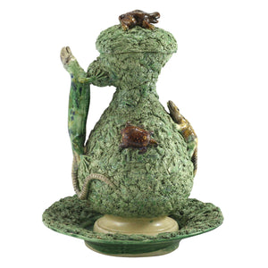 19th Century Palissy Ware Lidded Jug & Bowl with Frogs and Lizards - The Antique Guild