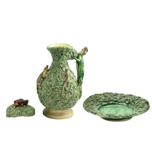 Load image into Gallery viewer, 19th Century Palissy Ware Lidded Jug & Bowl with Frogs and Lizards - The Antique Guild