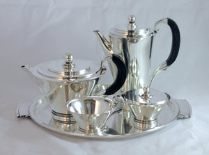 Art Deco Tea & Coffee Set by Georg Jensen in the Pyramid Pattern - The Antique Guild