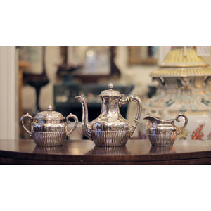 19th Century Three Piece Sterling Silver Tea Set by Gorham - The Antique Guild