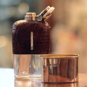 Sterling Silver and Alligator Skin Hip Flask - The Antique Guild