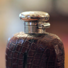 Load image into Gallery viewer, Sterling Silver and Alligator Skin Hip Flask - The Antique Guild
