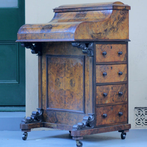 19th Century Burled Walnut Davenport Mechanical Desk - The Antique Guild
