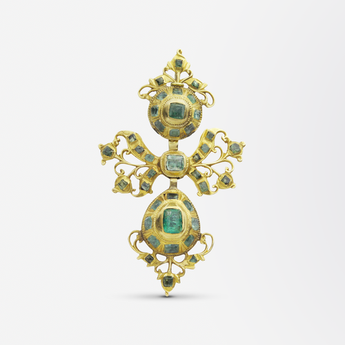 18th Century, Iberian 22kt Gold and Emerald Pendant