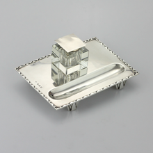 Load image into Gallery viewer, Art Deco Inkwell in Sterling Silver & Glass - The Antique Guild
