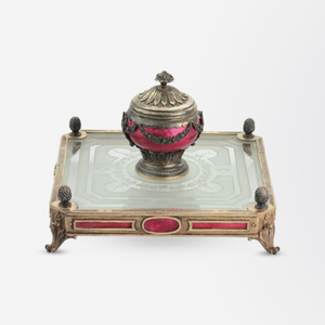 French Silver and Enamel Inkwell