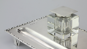 Art Deco Inkwell in Sterling Silver & Glass - The Antique Guild