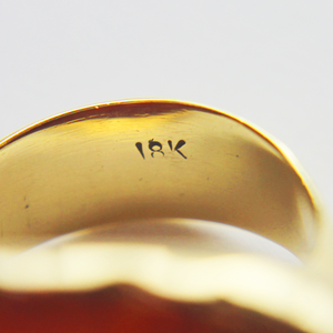 18kt Gold and 'Floral' Carved Jade Ring