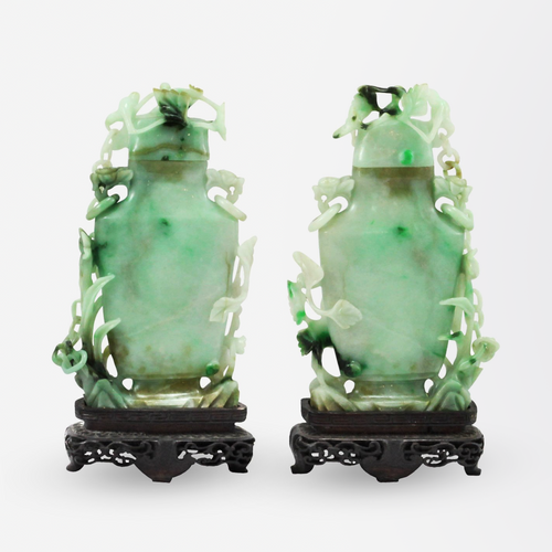 Pair of Early 20th Century Jadeite Covered Vases