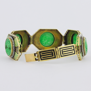 Art Deco 14K Yellow Gold Jadeite Enamel Bracelet