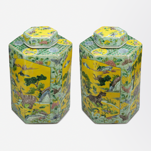 Pair of Qing Dynasty Polychrome Ginger Jars in the Kangxi Style
