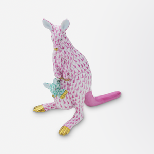Herend Hand Painted Porcelain Kangaroo & Joey