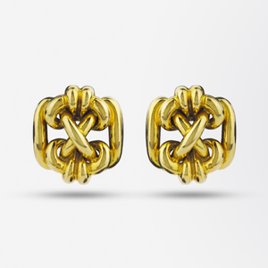 Retro 18kt Gold Knot Ear Clips