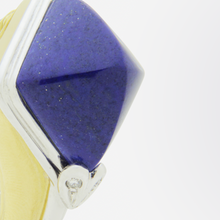 Load image into Gallery viewer, Retro Period, 18kt Gold, Diamond, and Lapis Lazuli Ear Clips