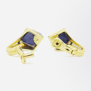 Retro Period, 18kt Gold, Diamond, and Lapis Lazuli Ear Clips