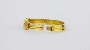 18kt Gold Greek Lapis Lazuli Bangle