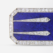 Load image into Gallery viewer, Platinum, Lapis and Diamond Art Deco Pin by Black Starr and Frost