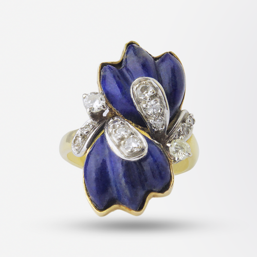 18k Yellow Gold, Lapis and Diamond Ring