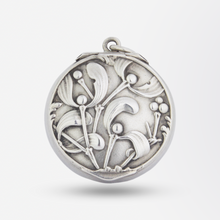 Load image into Gallery viewer, Small French Silver Mistletoe Pill Box Pendant