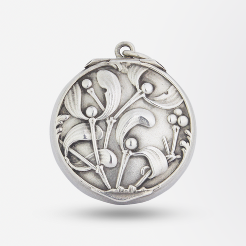 Small French Silver Mistletoe Pill Box Pendant