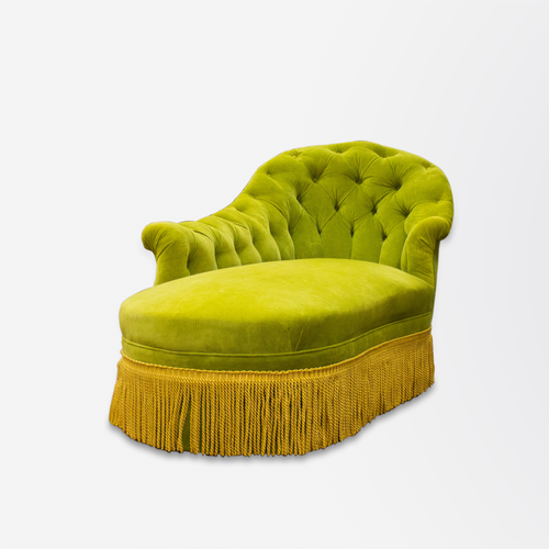 Chaise Lounge Upholstered in Green Velvet with Tassel Fringe