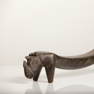 Zoomorphic Rhino Headrest with Geometric Decorations by The Dinka People - The Antique Guild