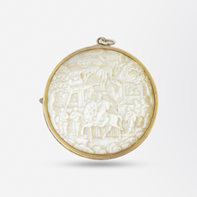 Load image into Gallery viewer, Carved Mother of Pearl Plaque Set in a Gold Brooch/Pendant Fitting