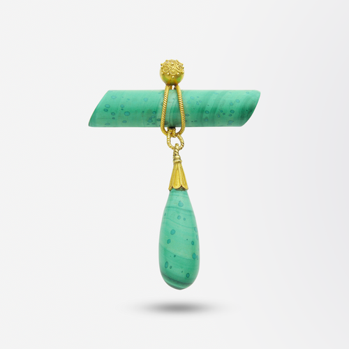 Malachite and Gold Pendant Brooch